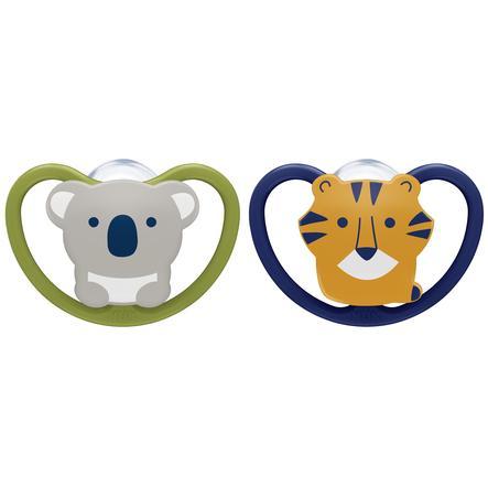 NUK Schnuller Space Gr. 1 0 - 6 Monate Silikon Design: Koala / Tiger