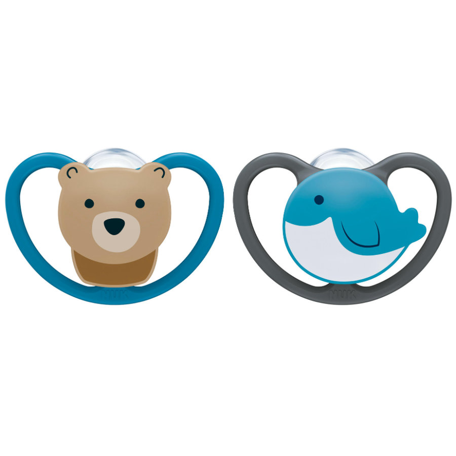 NUK Chupete Space tamaño 1 0 - 6 meses de silicona Design : oso / ballena