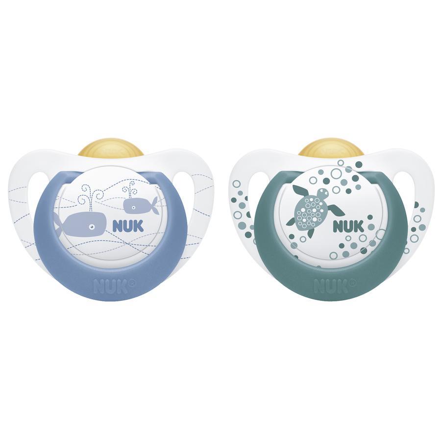 NUK Maniquí Color Azul / Verde Talla 1 Látex 2 piezas desde el nacimiento