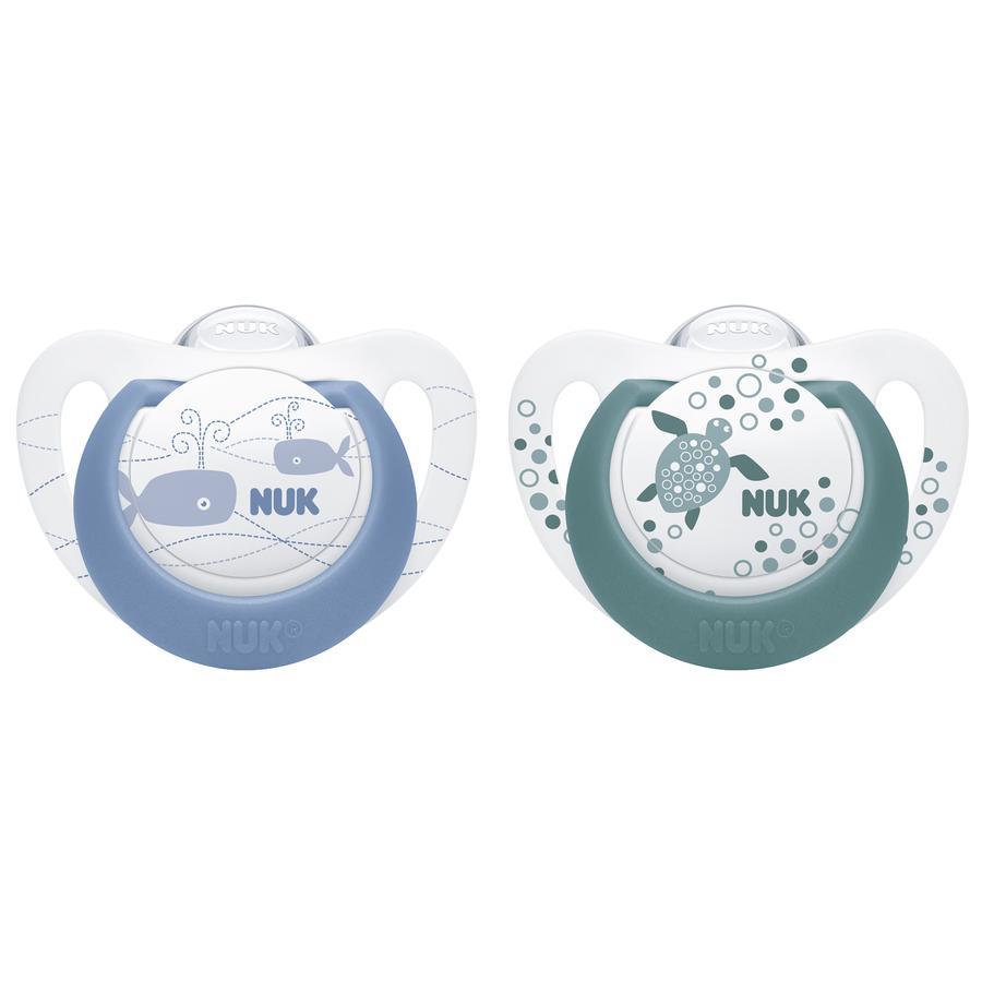 NUK Chupete Genius Color Azul / Verde Talla 3 Silicona 2 piezas del mes 18
