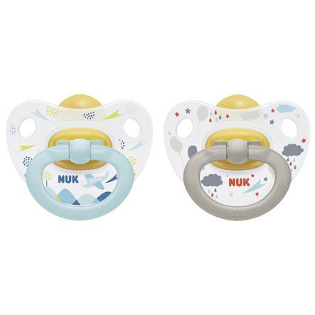 NUK Dummy Happy Kids Dimensione 1 Grigio / Lattice blu 2 pezzi dalla nascita