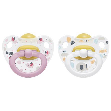 NUK Dummy Happy Kids Gr. 1 Pink / White Latex 2 piezas desde el nacimiento