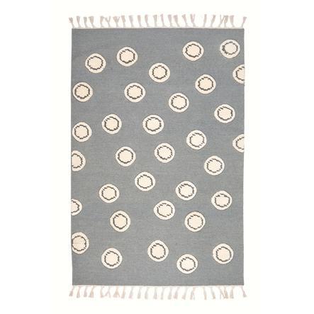 LIVONE lek og barneteppe ny ull Happy Rugs ring sølvgrå / natur, 160 x 230 cm