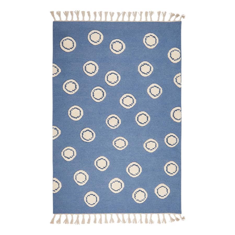 LIVONE Spiel- und Kinderteppich Schurwolle Happy Rugs Ring blau/natur, 160 x 230 cm