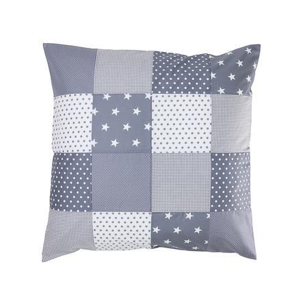 Ullenboom Taie d'oreiller enfant patchwork étoiles grises 80x80 cm
