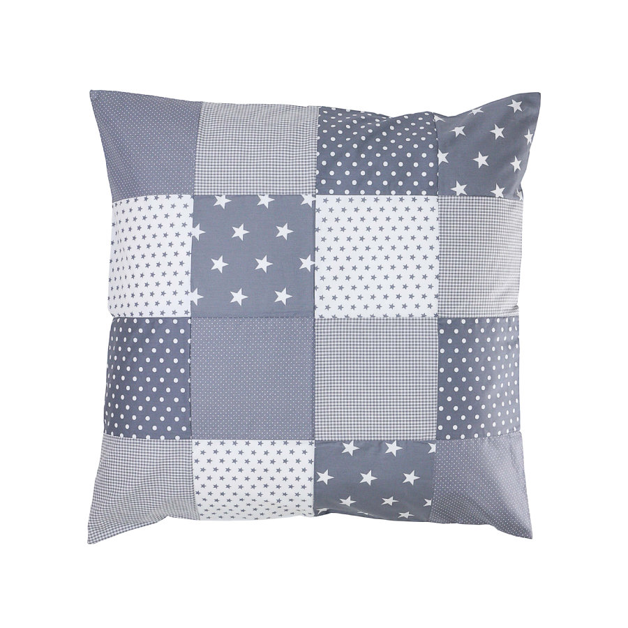 Ullenboom Patchwork Kissenbezug 80 x 80 cm Graue Sterne