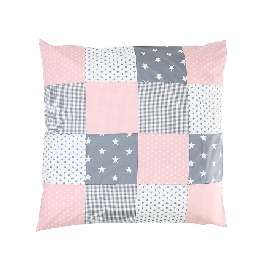 Ullenboom Taie d'oreiller enfant patchwork rose gris 80x80 cm