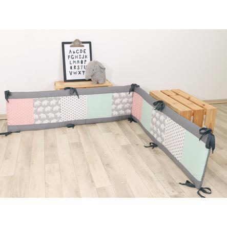 Ullenboom Patchwork-Nestchen für Laufgitter 100x100 cm Elefant Mint Rosa (400 cm)