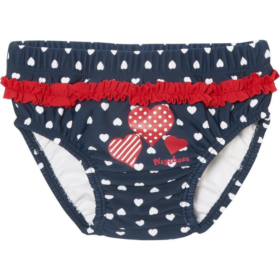 Playshoes Pantalon de bain couche lavable avec protection UV Coeurs à boutons marine