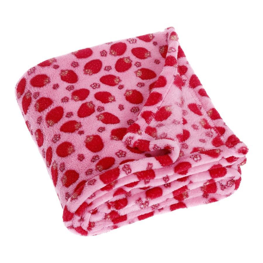 Playshoes Fleece-Decke 75x100cm Erdbeere rosa