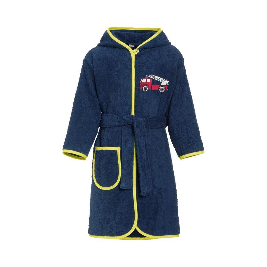 Playshoes Peignoir de bain enfant éponge pompier bleu marine