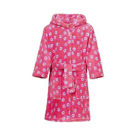 Playshoes Fleece badekåbe blomster lyserød