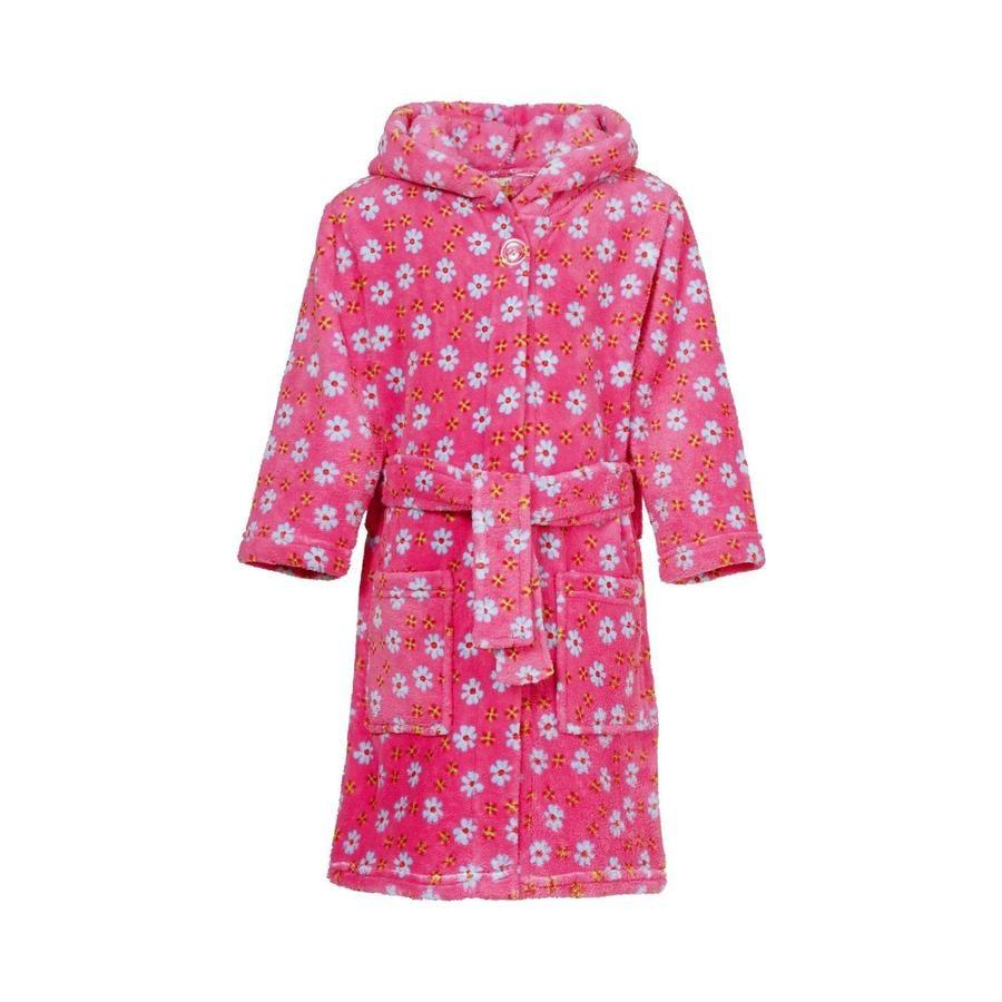 Playshoes Fleece-Bademantel Blumen pink
