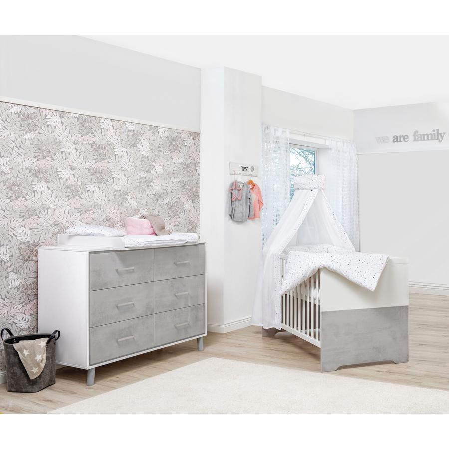 Schardt Ensemble lit bébé commode à langer Coco Grey 70x140 cm