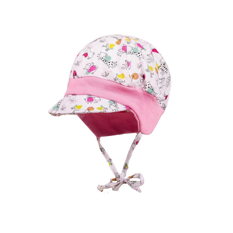 maximo Girls Schildmütze Kleine Tiere weiss-dark pink