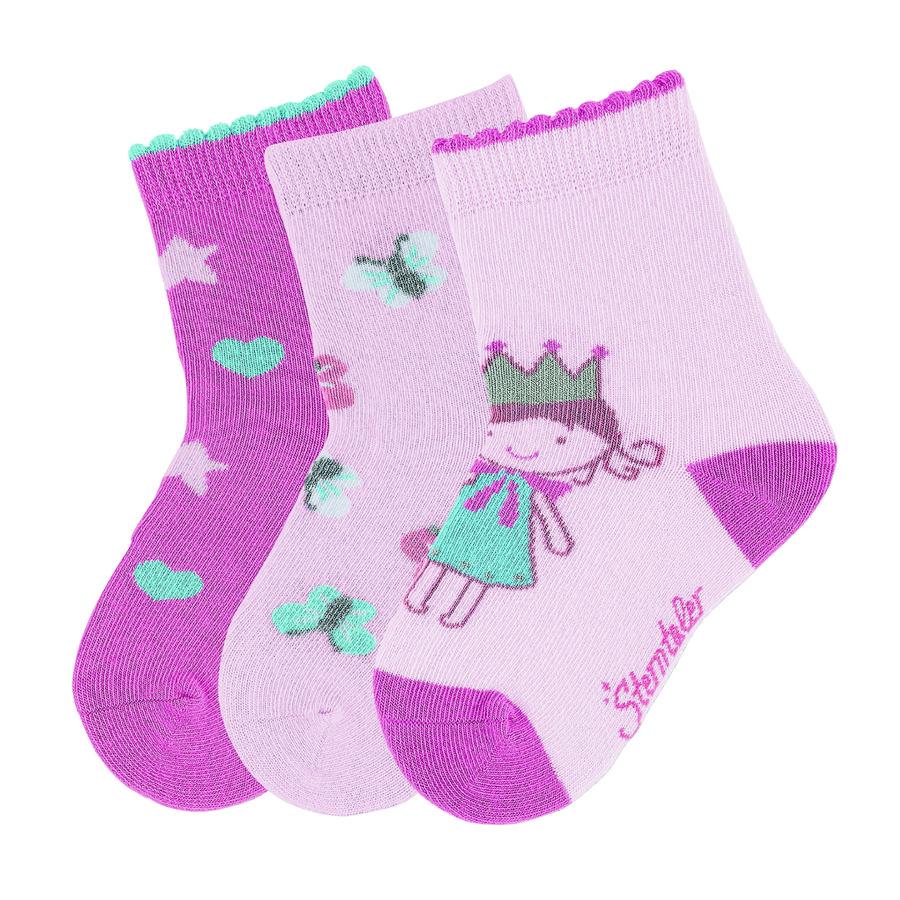 Sterntaler Girl s Calze 3-pack Principessa rosa