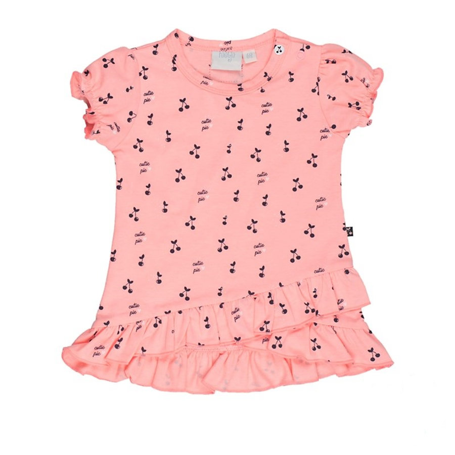 Feetje Girls šaty s krátkým rukávem Cherry sladce růžové vzorované