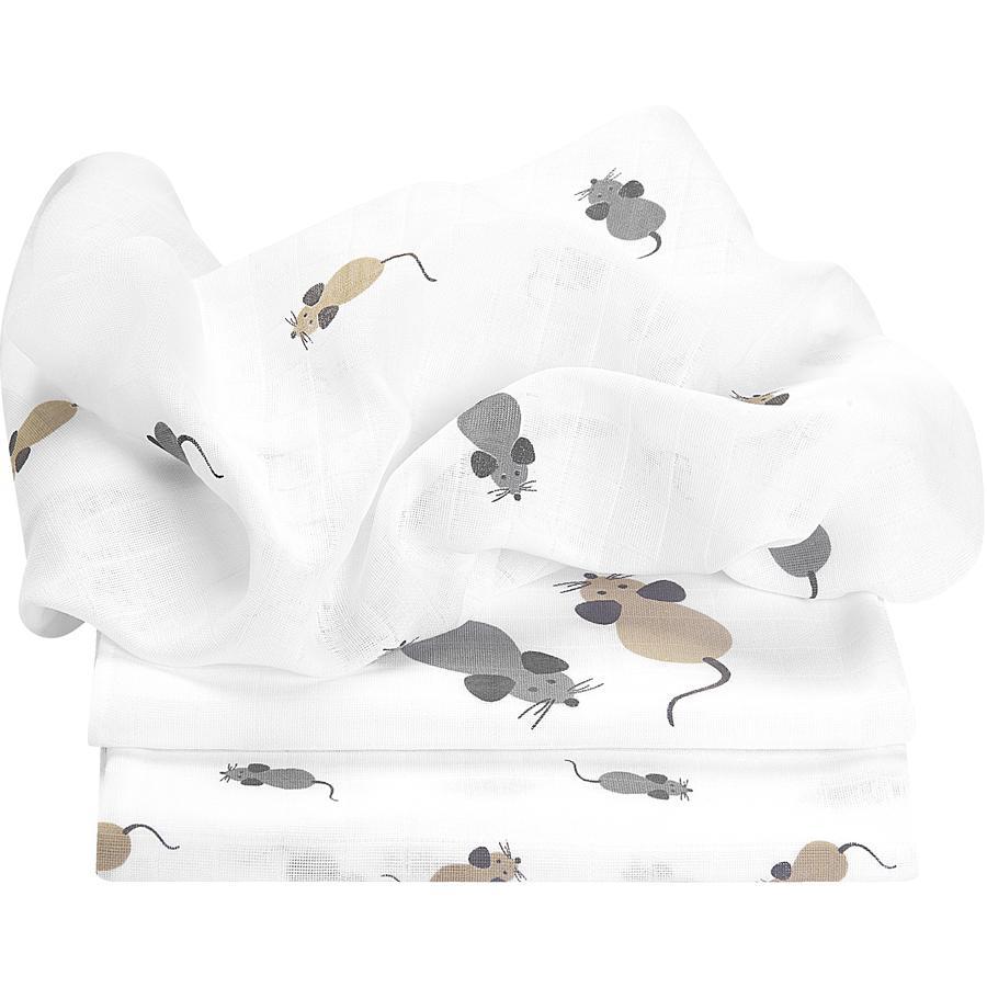 odenwälder Bomullsfiltar mouse 3-pack silver 80 x 80 cm