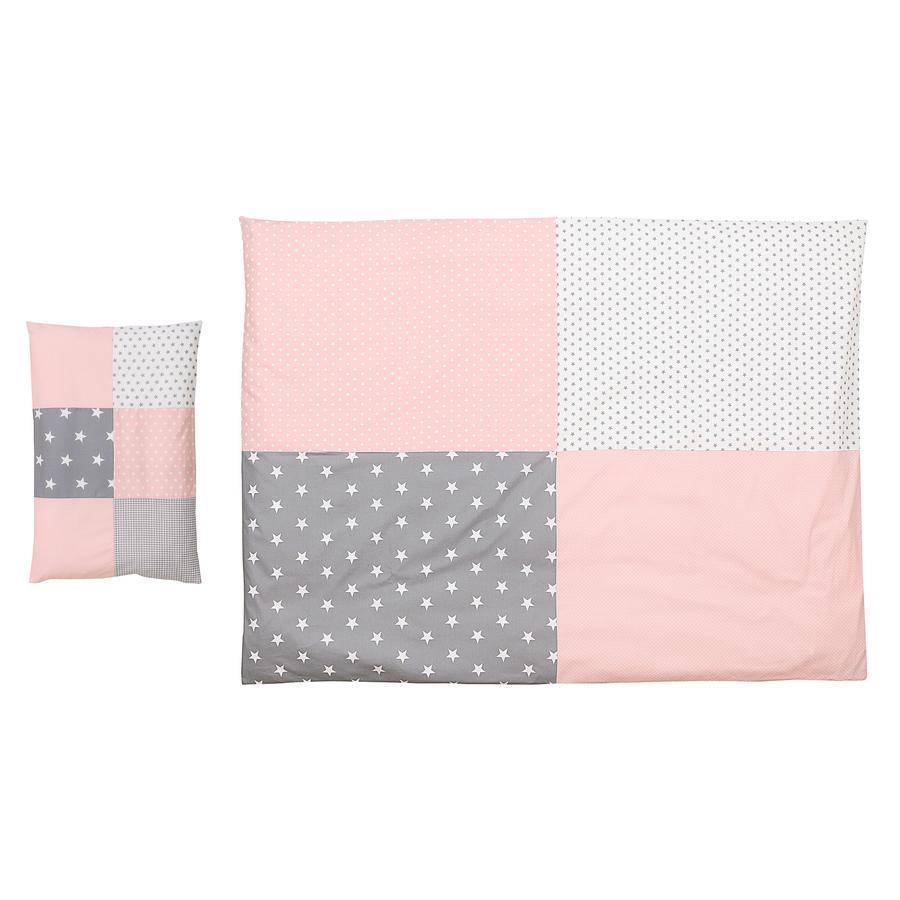 Ullenboom dětské ložní prádlo - set růžová/šedá 135 x 100 cm + 40 x 60 cm