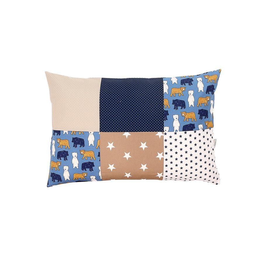 Ullenboom Taie d'oreiller enfant patchwork ours sable 40x60 cm