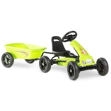 EXIT Go-Kart a pedali Foxy con rimorchio, verde