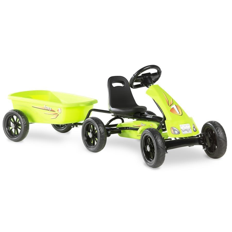 EXIT Pedal Go-Kart Foxy - zelené s návěsem