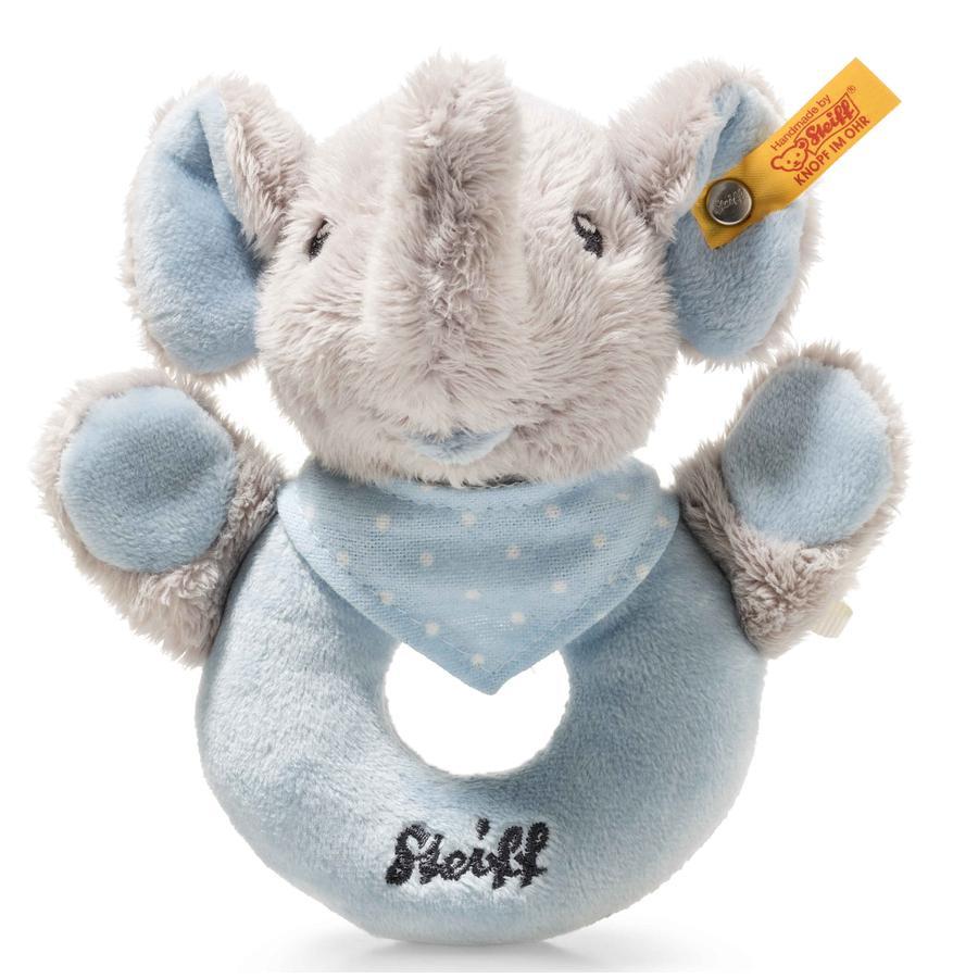 Steiff Trampili Elefant Greifring mit Rassel, 13 cm blau