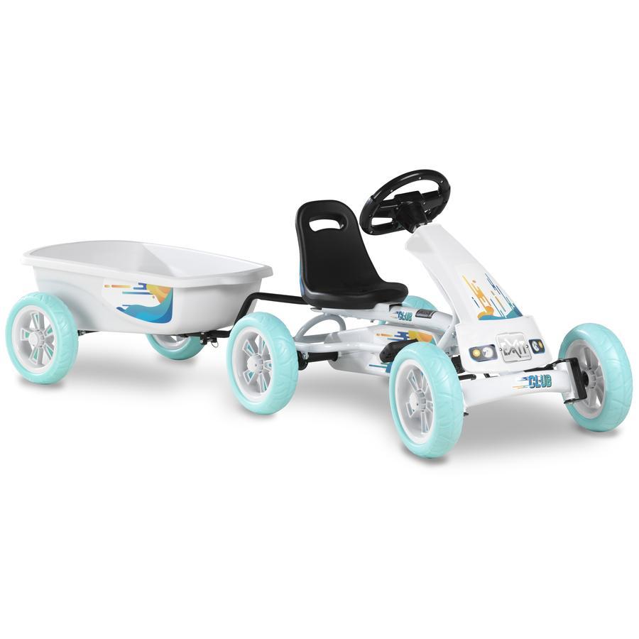 EXIT Go-Kart a pedali Foxy Club con rimorchio, bianco
