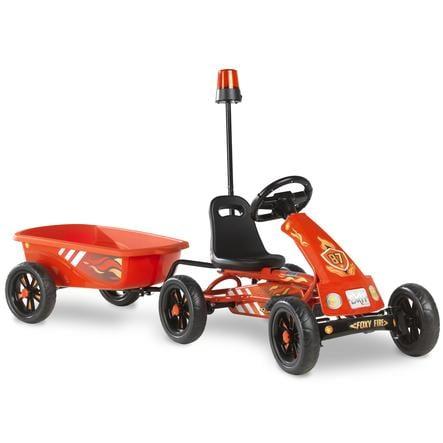 EXIT Go-Kart a pedali Foxy Club con rimorchio, rosso