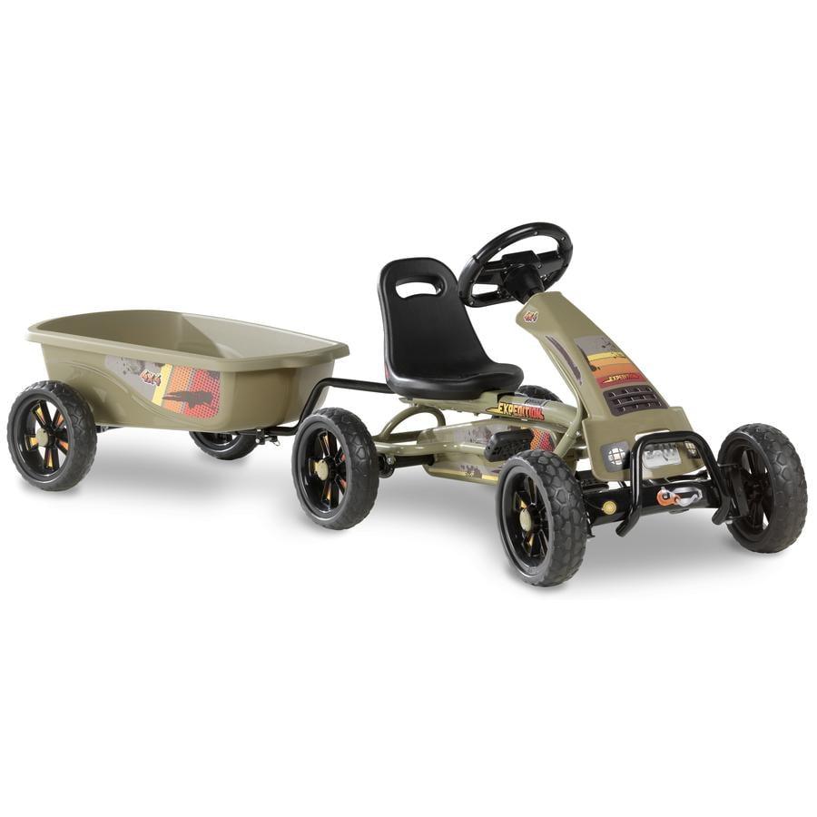 EXIT Pedal Go-Kart Foxy Club s přívěsem - tmavě zelené