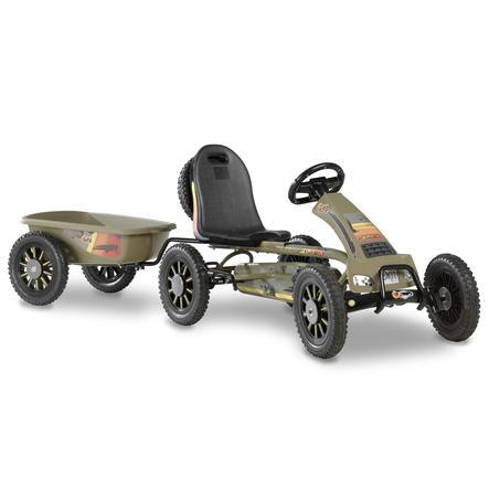 EXIT Go-Kart a pedali Spider Expedition con rimorchio, verde militare