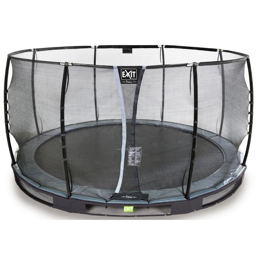 EXIT Inground - trampolino Elegant Premium ø366cm con rete di sicurezza Deluxe - schwa rz