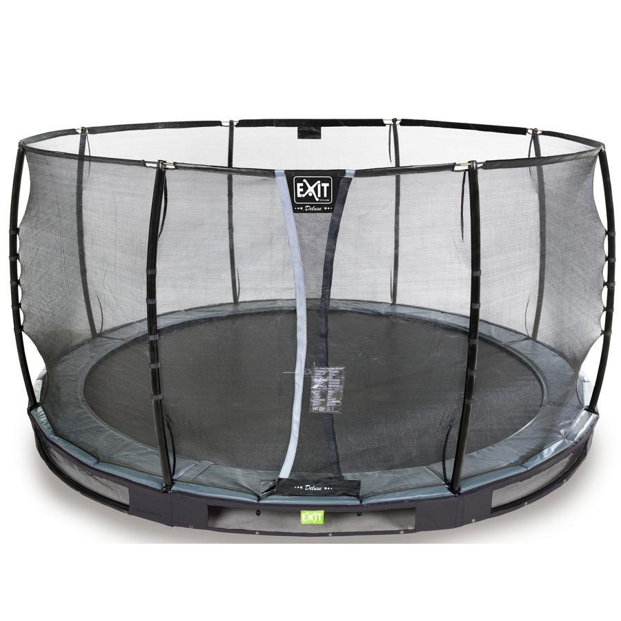 EXIT Inground - trampolina Elegant Premium ø427cm z Deluxe siatką zabezpieczającą - schwa rz