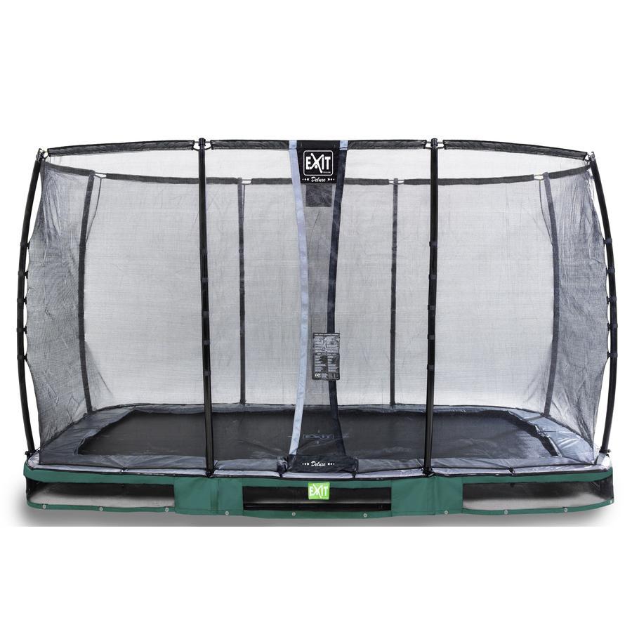 EXIT Inground - trampolina Elegant Premium 214x366 cm z Deluxe siatką zabezpieczającą - zielony