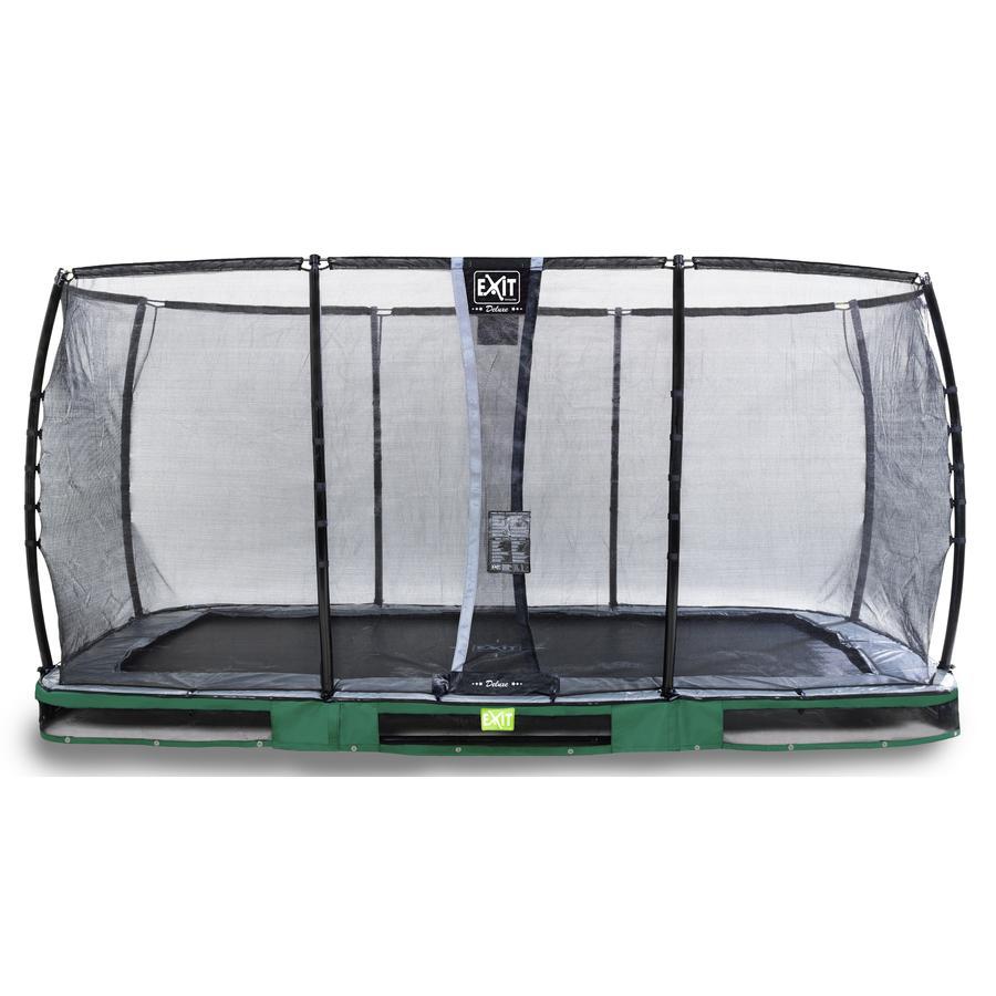 Inground Trampolina EXIT Elegant Premium 244x427 cm z Deluxe siatką zabezpieczającą - zielona