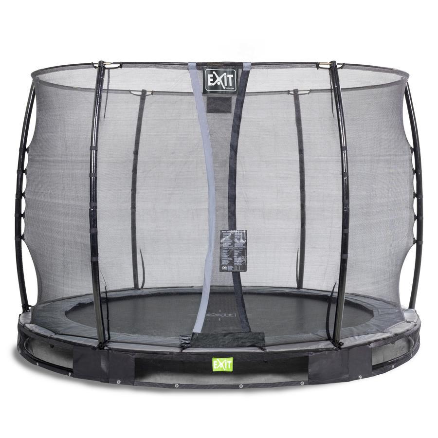 EXIT Inground - trampolina Elegant ø305cm z Economy siatką zabezpieczającą - schwa rz