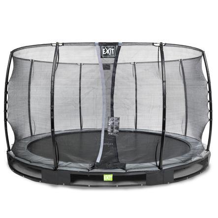 EXIT Inground - trampolina Elegant ø366cm z Economy siatką zabezpieczającą - schwa rz