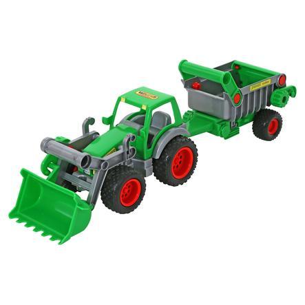 WADER QUALITY TOYS Farmer Technic Traktor mit Frontschaufel und Kippanhänger