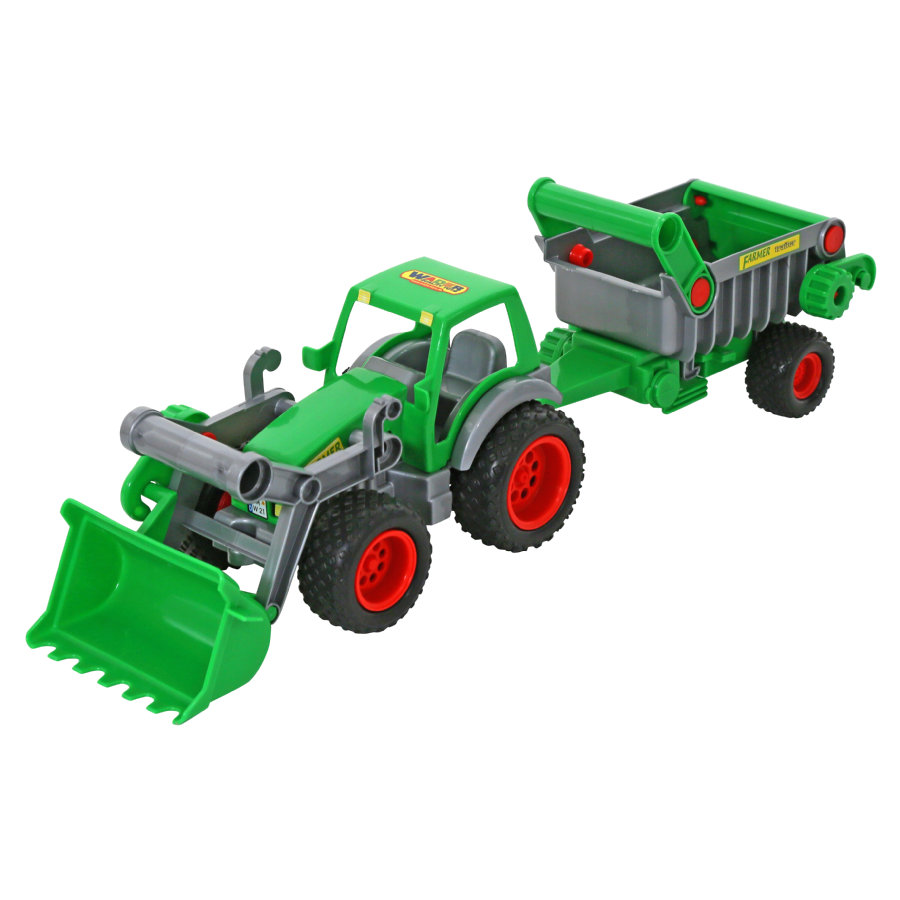 WADER QUALITY TOYS Figurine tracteur Farmer Technic, pelle avant, remorque bascule