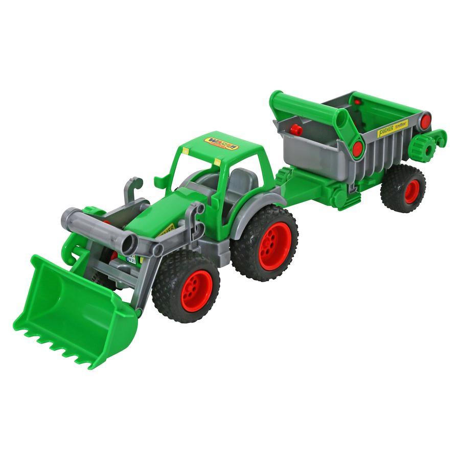 WADER QUALITY TOYS Trattore agricolo Technic con cucchiaio anteriore e rimorchio ribaltabile