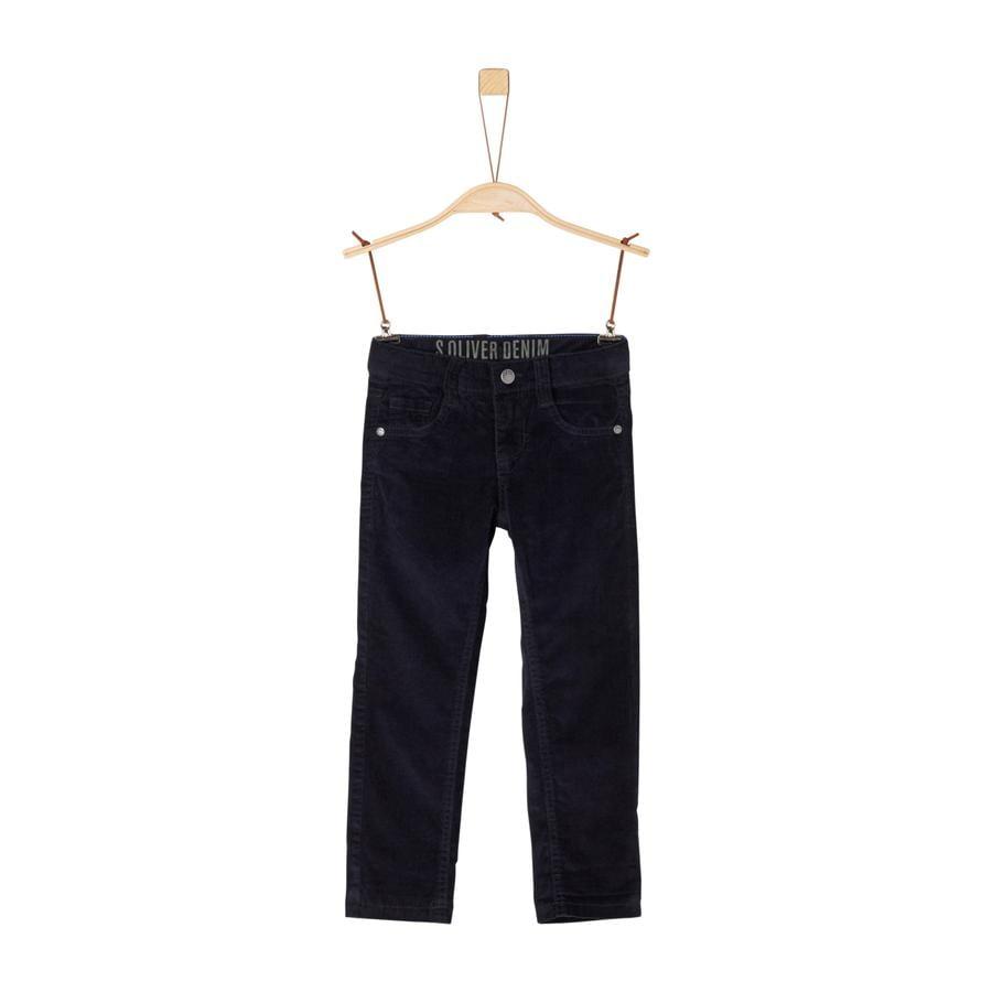 s.Oliver Boys Pantalon en velours côtelé bleu foncé