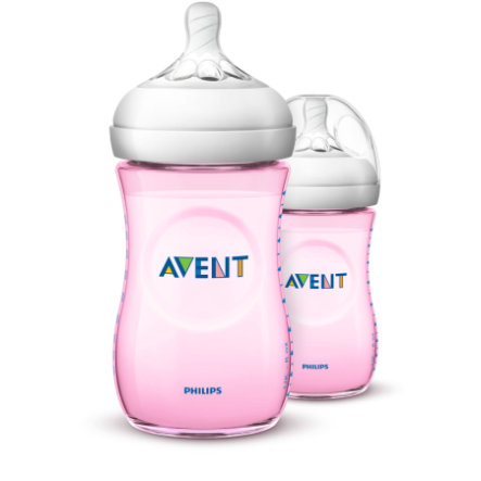 Philips AVENT Biberon Natural 2.0 260 ml 12 m+ SCF034/27 rose lot de 2