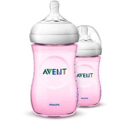 PHILIPS AVENT Tuttipullo Natural 2.0, SCF034/27, 260 ml, 2 kpl, vaaleanpunainen
