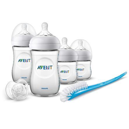 Philips Avent Natural Flaschen-Set für Neugeborene SCD301/01, 4 Flaschen, Bürste & Schnuller