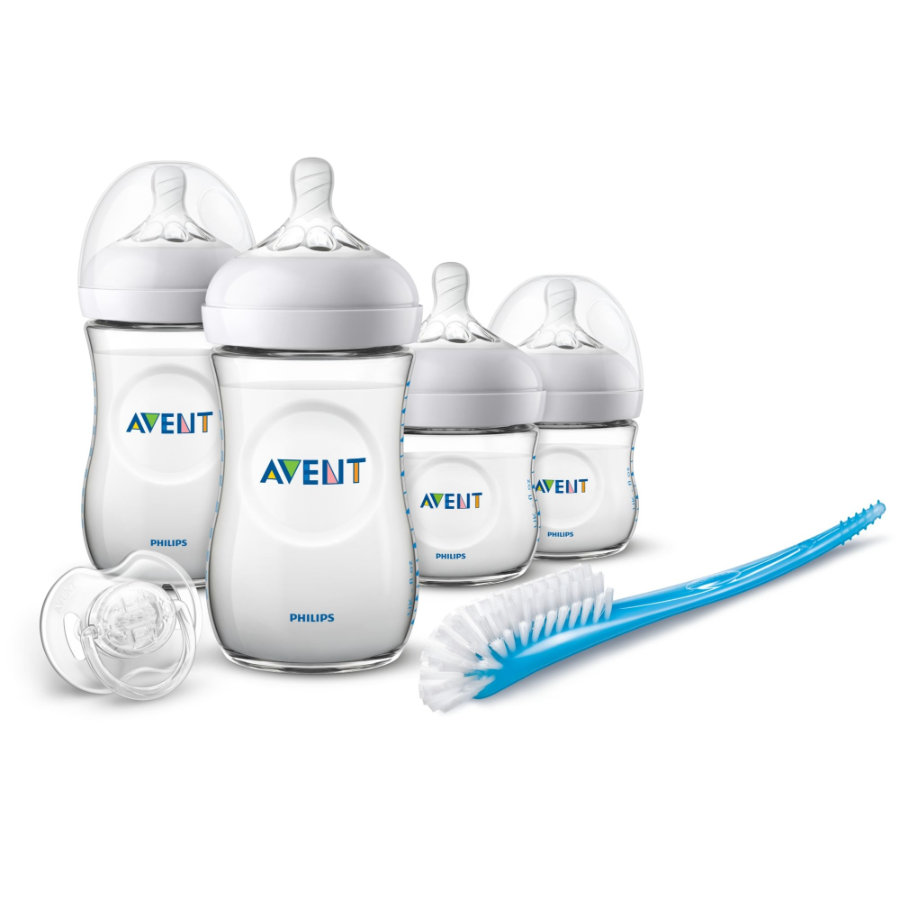 Philips Avent Natural sada flašek pro novorozence SCD30/01, 4 flašky, kartáček, a dudlík.