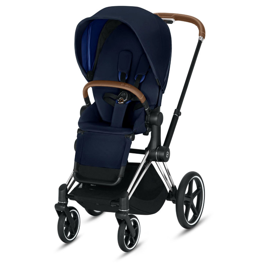 cybex PLATINUM Kinderwagen Priam - Rahmen Chrome inklusive Sitz in Indigo Blue