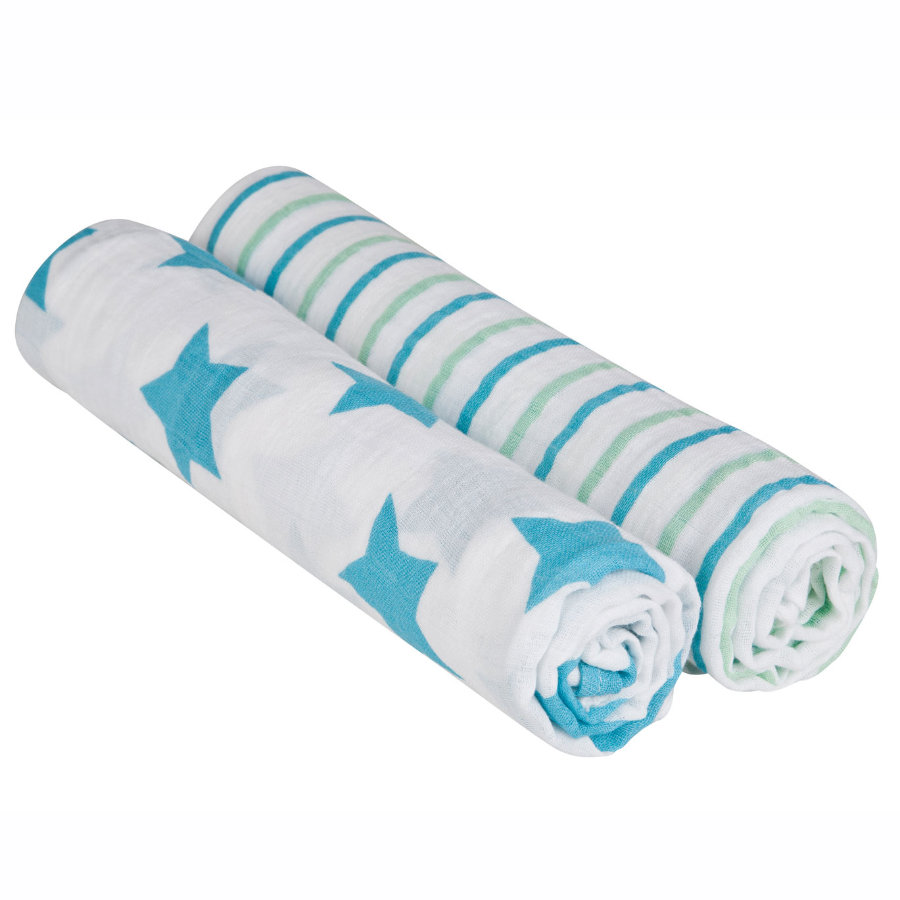 LÄSSIG Swaddle & Burp Blanket large Stars & Stripes Boys 120 x 120cm