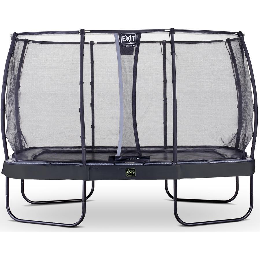 De EXIT Elegant Premium trampoline met Deluxe veiligheidsnet is een rechthoekige trampoline van zeer goede kwaliteit met een grijze beschermrand en een zwarte rok.