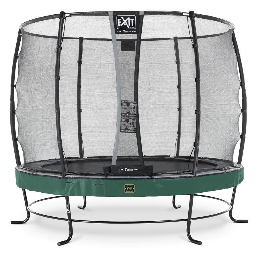 Trampolina Elegant Premium ø253cm EXIT z Deluxe siatką zabezpieczającą - zielona