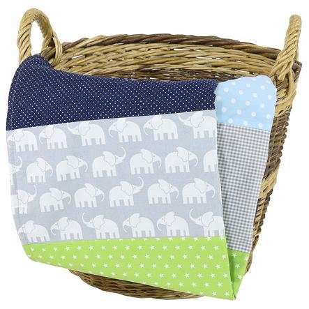 Ullenboom Filt 100X140 cm Elefant blå/grön